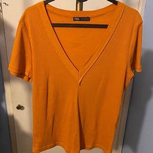 Zara Orange Mustard V Neck Top Size L